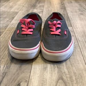 Gray and pink lace up vans
